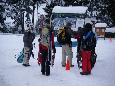 Backcountry Skiers and Snowboarders at Cypress Mountain