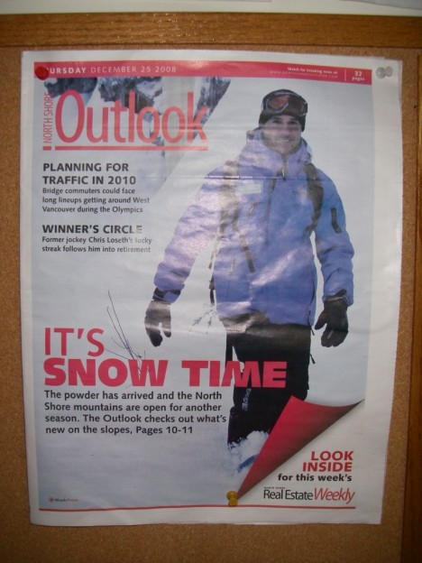 Grouse Mountain Staff got onto the cover of the newspaper