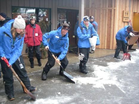 Instructors Shoveling