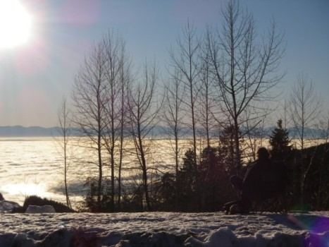 Sitting in Lawn chair admiring the beauty of fog covering Vancouver on Cypress Mountain (January 19, 2009)