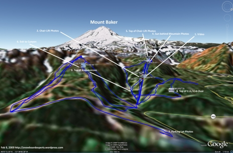 Mount Baker Snowboard Trip GPS from Google Earth (Feb 9, 2009)